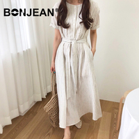 Striped Dress White Vestidos Women Summer Evening Party Night Short Sleeve Long Dress Elegant Robe Longue Femme Sukienki Z093