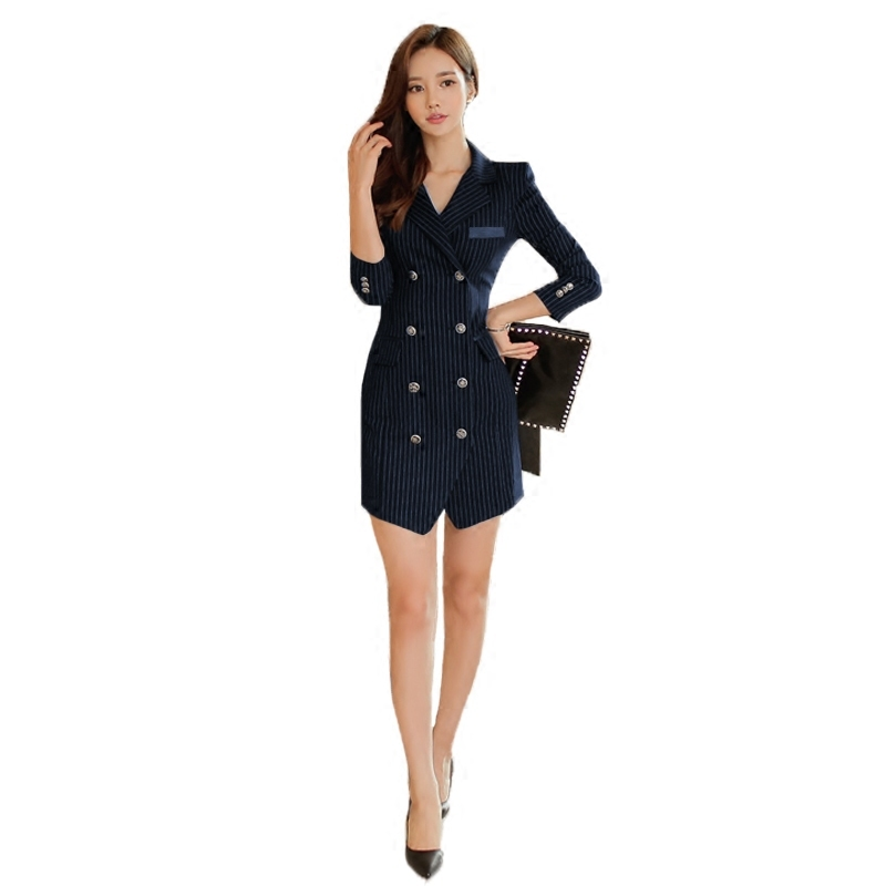 K01 Suit Notched officice lady dress Stripe Long Double breasted Self cultivation dresses 2018 spring Autumn