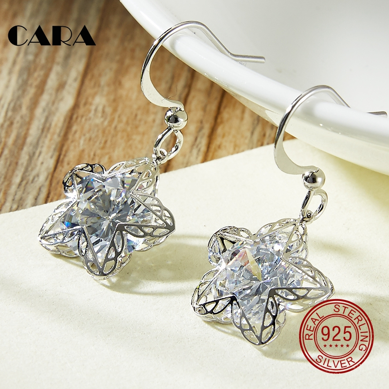 2019 new 925 sterling silver Luxury hollow out star Stud Earrings with Zircon Stone Women Birthday Bijoux earrings CARA0089
