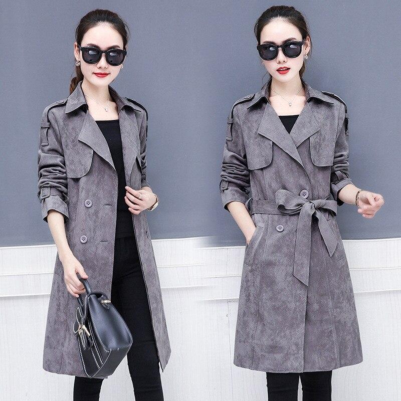 2020 Fashion Suede Long  Trench Coat Women Spring Autumn Coats Vintage Adjustable Waist Female Overcoat Elegant Windbreaker