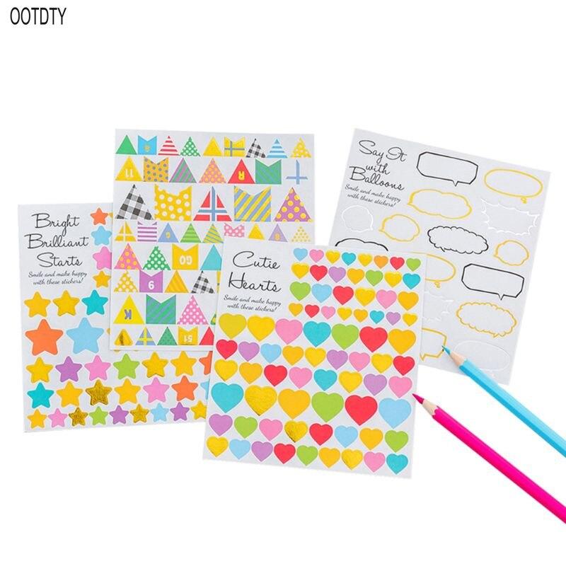 Creative Cartoon Geometry Bronzing Handbook for Children DIY Decorative Stickers Album Notebook Decoration Paper Craft Scrapbook