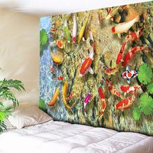 Clear Pond Bohemian Tapestry Hippie Wall Hanging Yoga Beach Towel Sunscreen Dark Shawl/Blanket Lotus Leaf/Cobblestone/Goldfish