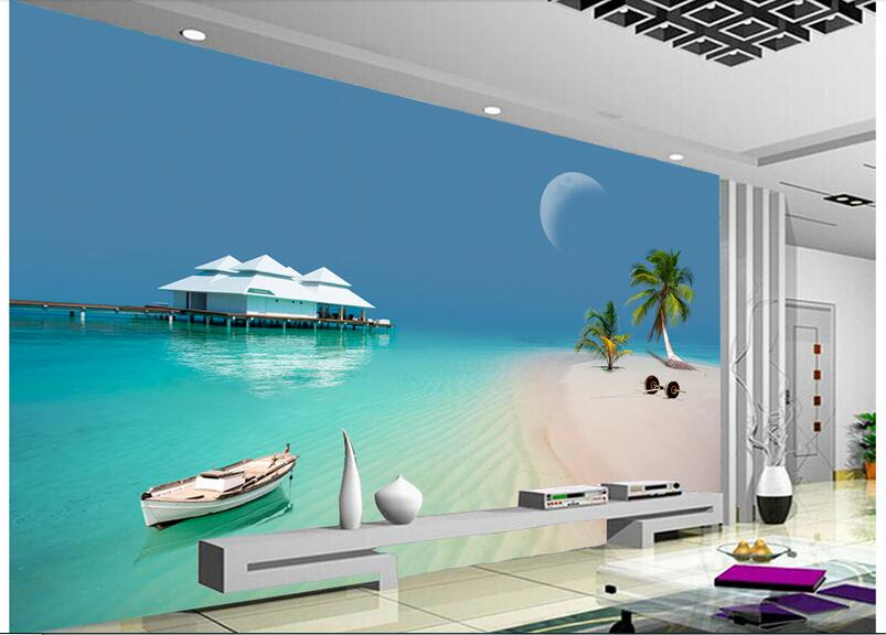 3d Wallpaper Custom Photo Non Woven Mural The Modern Sea Beach House Wall Murals Room Decoration Painting In Wallpapers From Home Improvement