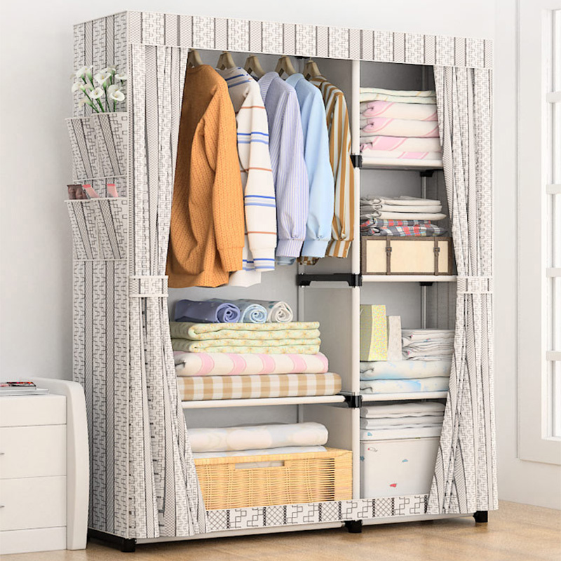 US $36.32 30% OFF|DIY Simple Curtain portable wardrobe Storage Organizer  cupboard furniture Cabinet bedroom furniture Reinforcement Stowed closet-in  ...