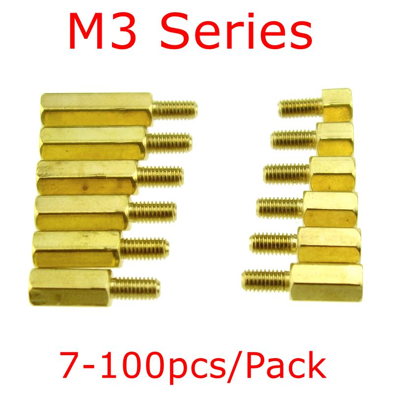 20 pcs or 100 pcs /pack M3 Series Brass Copper M3 Hex Column Standoff Support Spacer Pillar PCB Board Male to Female 10pcs m3 35mm textured aluminum alloy pillar standoff spacer column for qav250 zm250 fpv quadcopter