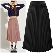2016 new summer in Europe and the United States women's high waisted skirt long   female thin Chiffon pleated sexy club skirt