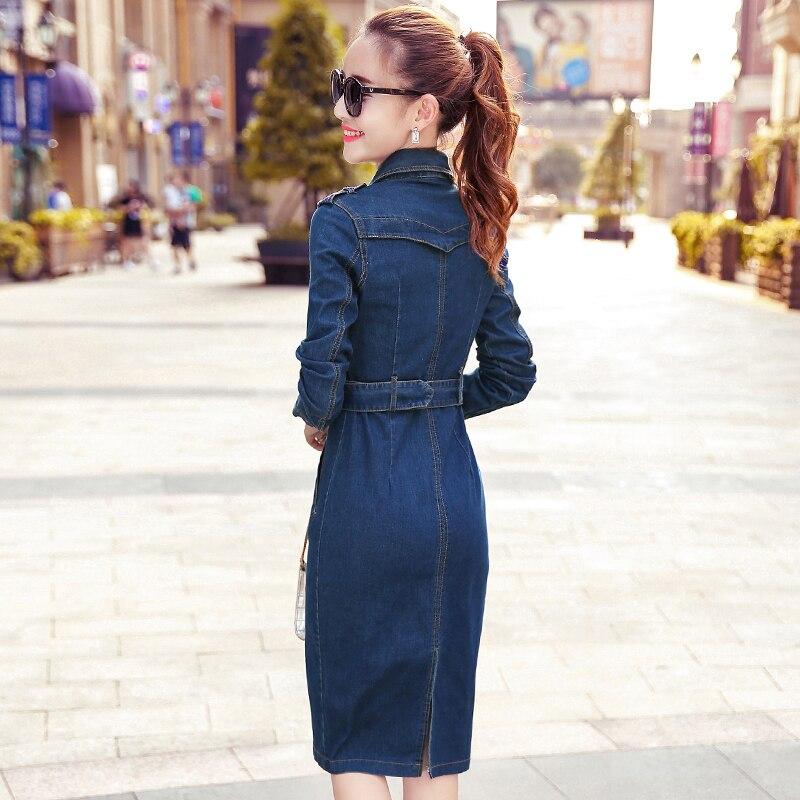 afe5939d9272 Denim Dress 2018 Spring New Fashion Long Sleeve Bodycon Ladies Jeans Dresses  Free Belt Denim Clothing Women Vintage Jean Dress-in Dresses from Women s  ...