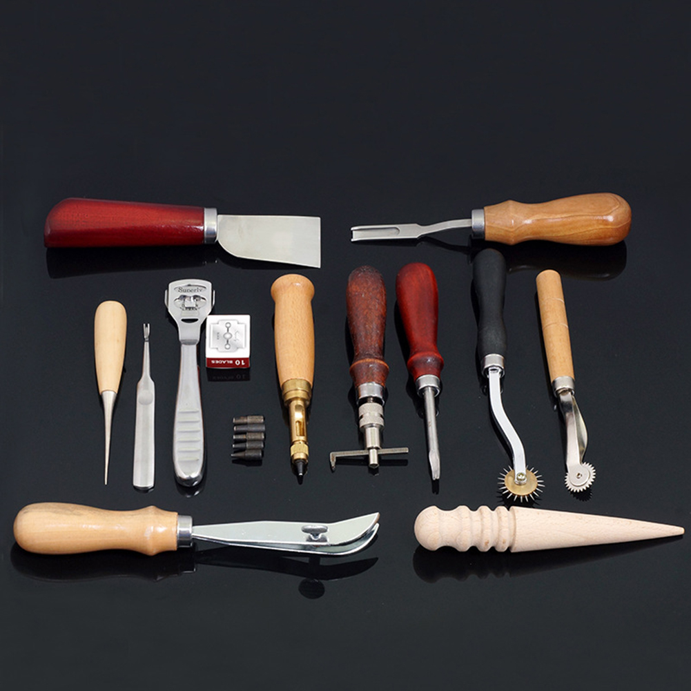 13PCS Leather Sewing Tools Kit Leather Craft Tool Stitching Carving Working Sewing Saddle Groover Leather Craft Tools Set