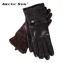 Genuine Leather Woman Gloves Keep Warm Knitted Lined Fashion Driving Autumn Winter Sheepskin Gloves Female EL045NZ autumn winter woman s gloves sheepskin patchwork driving leather gloves warm lined female mittens a1051 1