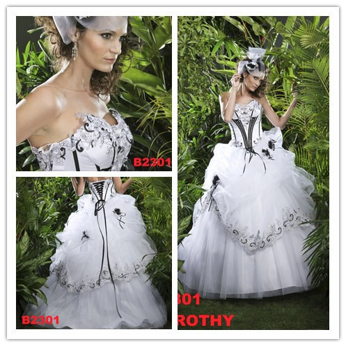 Silver and White Corset Wedding Dresses