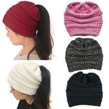 Hembra sombrero caballo Beanie sombrero de invierno para mujeres Crochet  Knit Skullies casquillos calientes(China ef947263281