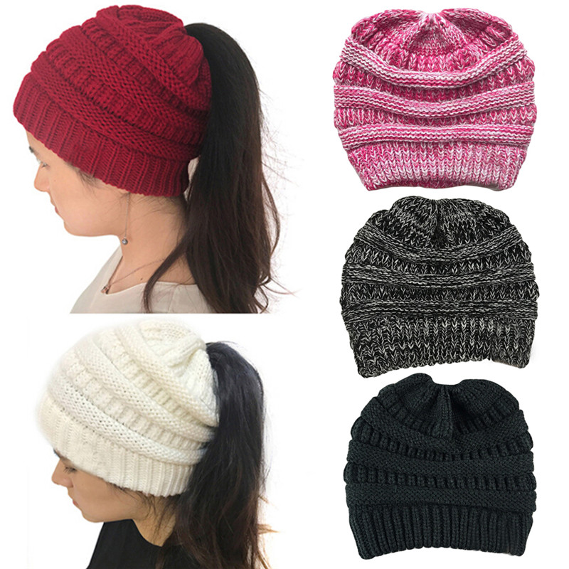 Female Knit Hat Ponytail Beanie Winter Hat For Women Crochet Knit Cap Skullies Beanies Warm Caps
