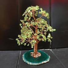 peridot Crystal luck tree quartz gemMoney Tree Feng Shui Wealth Home Decor Miniature Figurines PartyGift