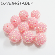 20mm 100PCS Pink AB Resin Rhinestone Ball Beads,Chunky Beads For Kids  Jewelry Making