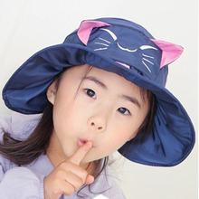 Летняя Детская Милая шляпа с рисунком кота Солнцезащитная УФ