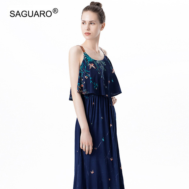 SAGUARO Bohemian Style Print Floral Ruffles Dresses Women Summer Sleeveless  Strappy Long Dress Beach Casual Maxi 8fc6eb5553a0
