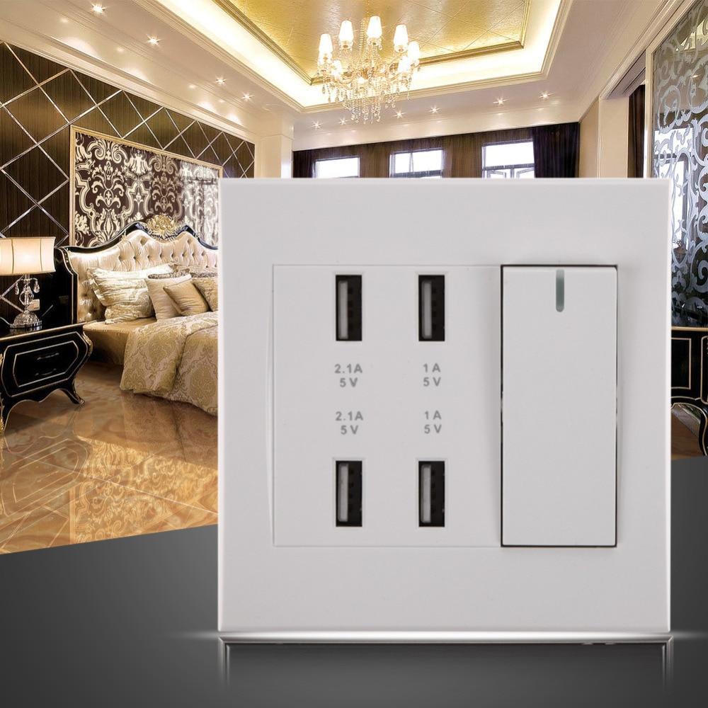 ⑦Brand new 4 port USB Wall Socket Charger Power AC 110V-250V ...
