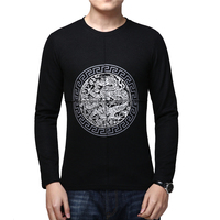 BROWON Spring Casual Chinese Style T Shirt Men Long Sleeve T Shirt Dragon Print Slim Fit