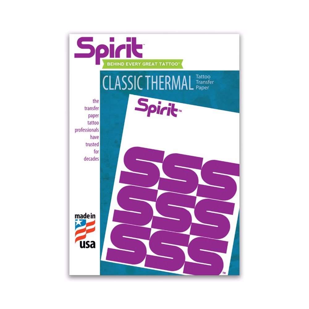 Original Spirit Classic Thermal & Carbon Tattoo Transfer Paper for Professional artist - 8.5 X 11 Pack of 20/50/100/200 Sheets