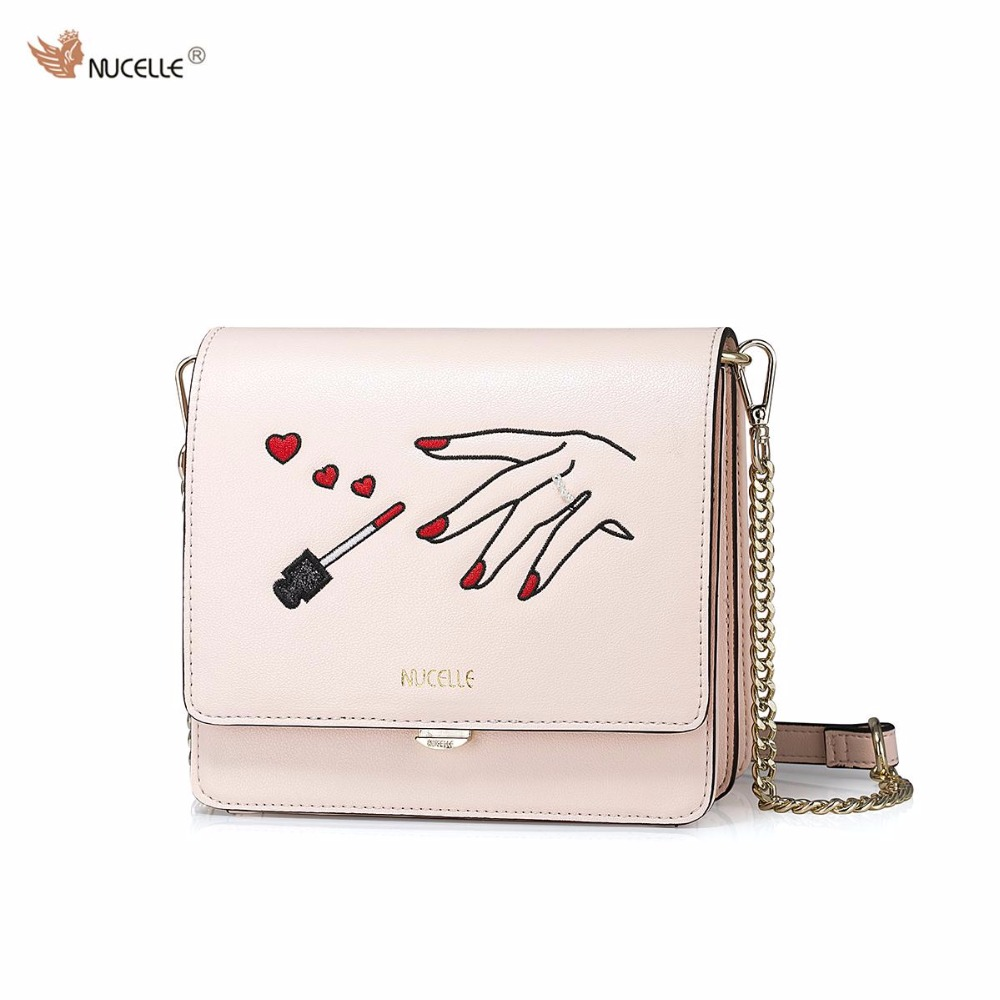 2017 Spring New NUCELLE Brand Design Fashion PU Leather Women Ladies Girls Chains Shoulder Bag Crossbody Square Mini Bags