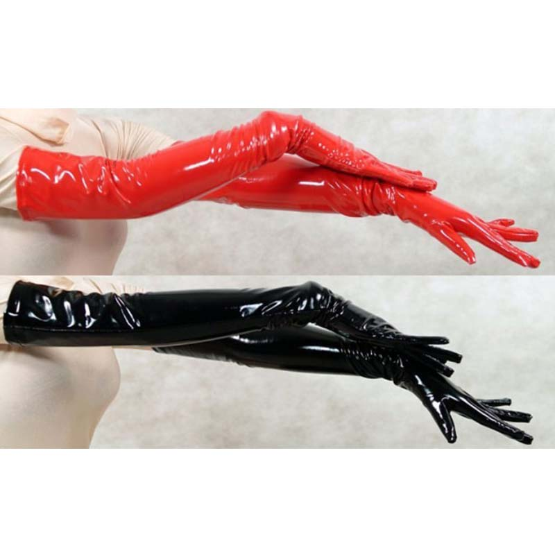 Sexy Women's Long Leather Gloves Five Fingers PVC Gloves Wet Look Opera Length Black Red Unisex Faux Latex Fetish Gothic Gloves