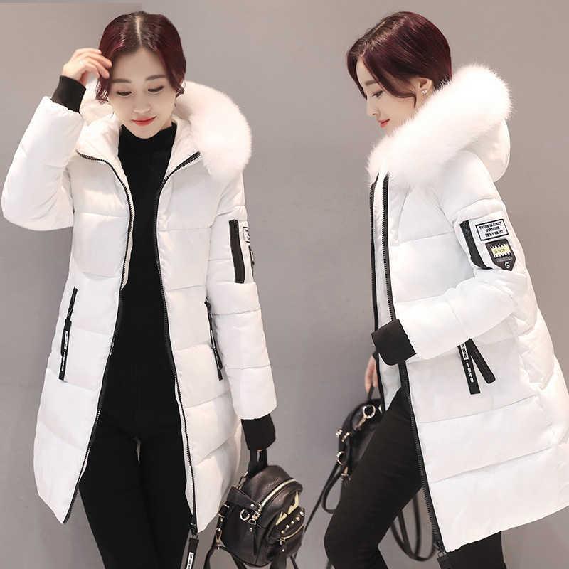 c2f6b559aa72 SHIBEVER с меховым капюшоном зимние женские пальто парки 2018 теплые  длинные женские пальто куртки модная винтажная