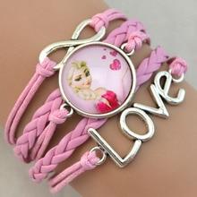 Fashion jewelry Chain Girls Heart Charm Bracelet Cartoon Kids Gift Bracelets For Women