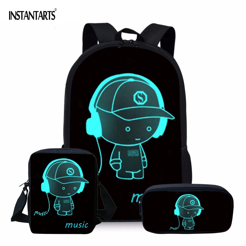 INSTANTARTS Cartoon 3D Print Luminou Black School Bag Set Schoolbag For Teenager Girl Cute Children Kids Bookbag Mochila Escolar