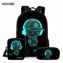 INSTANTARTS Cartoon 3D Print Luminou Black School Bag Set Sc
