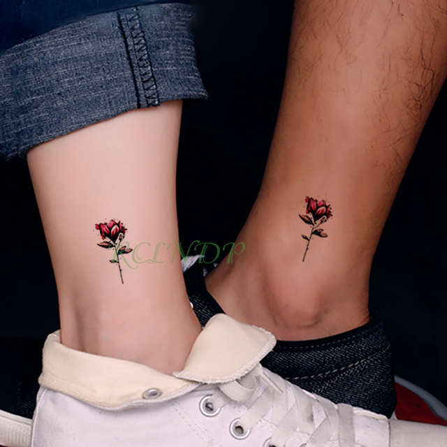 Pegatinas de tatuaje temporal a prueba de agua hermosa flor Rosa falso Tatto Flash Tatouage mano trasero pie brazo para chica mujeres hombres