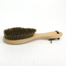 The long handle brush horsehair shoes brush not to hurt the cortex elastic to ash oil polishing