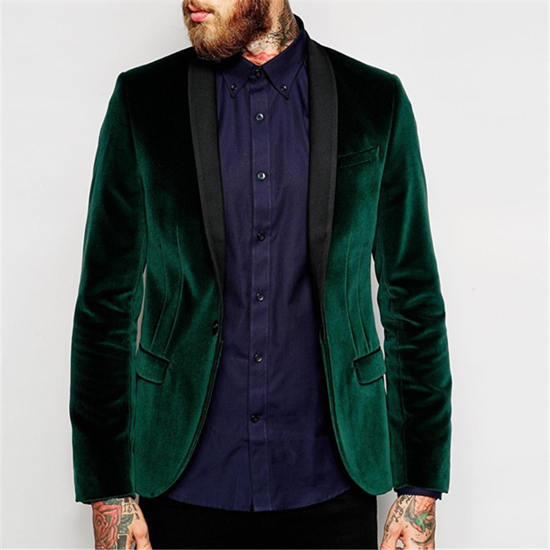 Green Velvet Groom Tuxedos Slim Fit 2 Pieces( Jacket+Pant+Tie) High Quality Custom Made Men Wedding Party Suits Shawl Lapel
