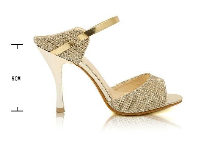 LAKESHI Summer Women Pumps Small Heels Wedding Shoes Gold Silver Stiletto High Heels Peep Toe Women Heel Sandals Ladies Shoes 2
