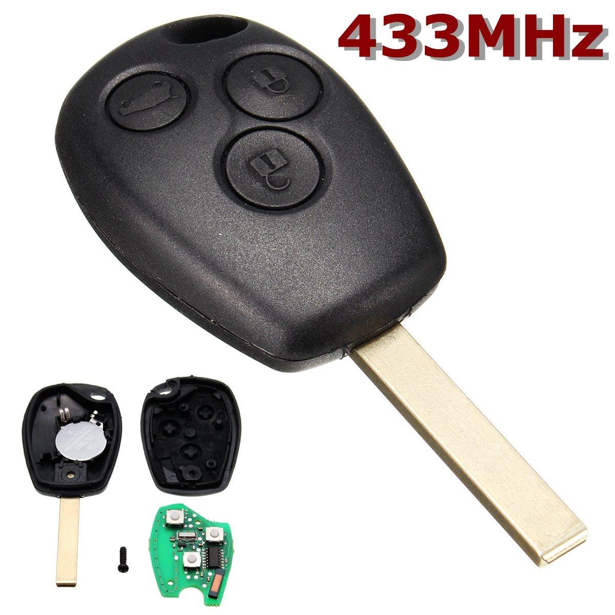 Negro Uncut Blade Control remoto clave 3 Botones 433 MHz para Renault/Kangoo II/Clio III