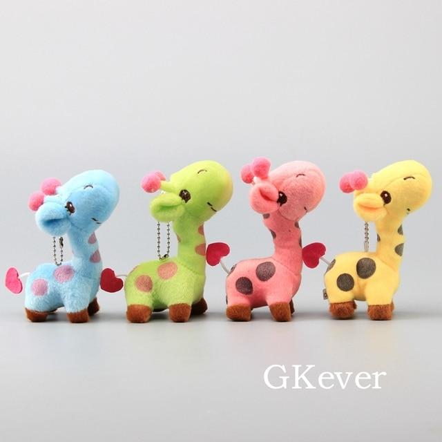 4 Colors Set Lovely Giraffe Plush Keychain Cute Mini Soft Stuffed