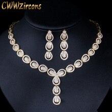 CWWZircons Micro Pave Cubic Zirconia หรูหราดูไบ GOLD สีชุดเครื่องประดับสำหรับผู้หญิงงานแต่งงานชุดเจ้าสาวเครื่องประดับ T101