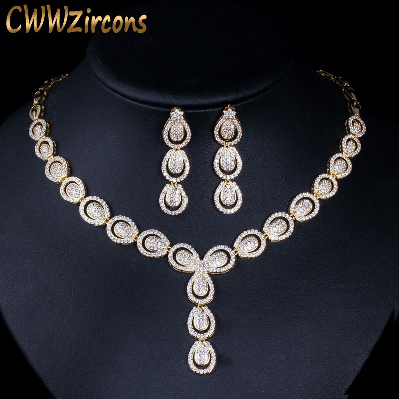 CWWZircons Micro Pave Cubic Zirconia Luxury Dubai Gold Color Jewelry Sets for Women Wedding Party Bridal Costume Jewellery T101CWWZircons Micro Pave Cubic Zirconia Luxury Dubai Gold Color Jewelry Sets for Women Wedding Party Bridal Costume Jewellery T101
