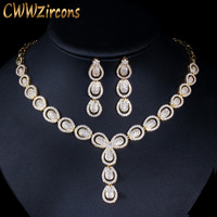 CWWZircons Micro Pave Cubic Zirconia Luxury Dubai Gold Color Jewelry Sets for Women Wedding Party Bridal Costume Jewellery T101