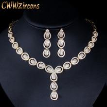 Cwwzircons micro pave zircônia cúbica de luxo dubai cor ouro conjuntos de jóias para festa de casamento feminino traje de noiva jóias t101