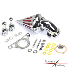 Papanda Motorcycles Chrome Spike Air Cleaner Intake Filter Kits for Harley Rocker Softail Dyna Touring Road King 2001-2009