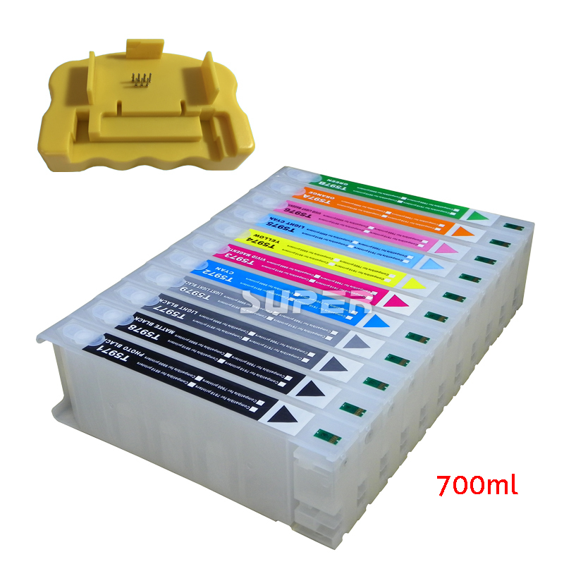 Cheapest printer ink cartridges  for epson 7910 9910 with chips and resetter with high quality 11color refillable ink cartridge empty 4910 inkjet cartridges for epson 4910 large format printer with arc chips on high quality