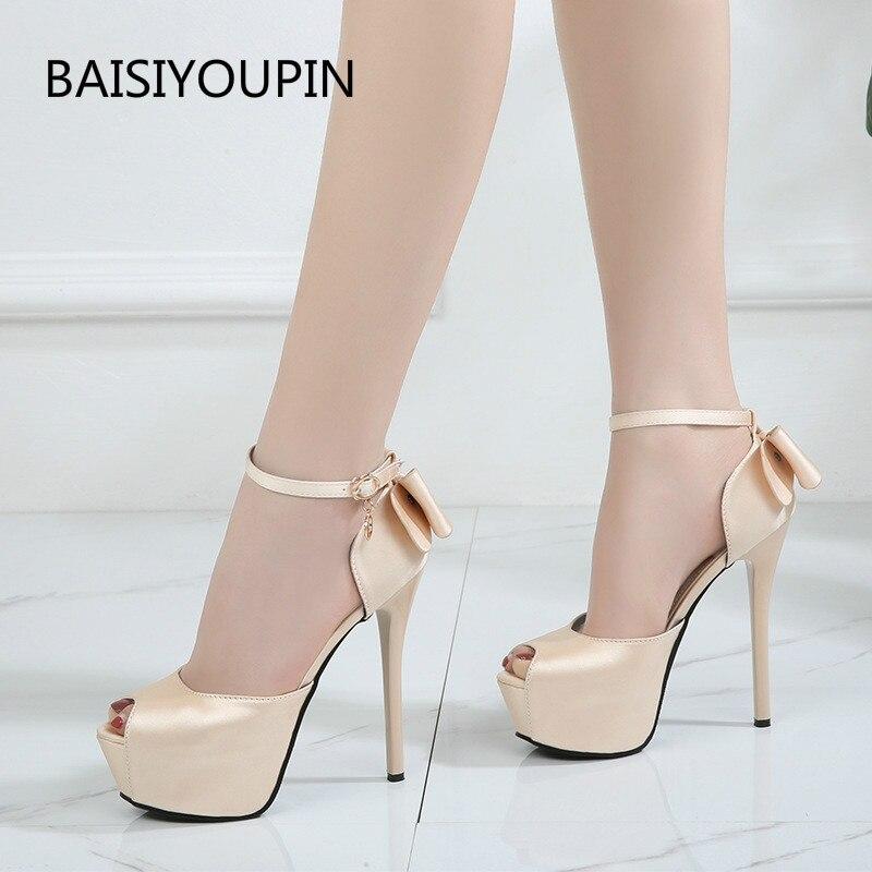 Summer Solid Sexy Pumps Women Sandals Shoes Wedding 3.8cm-4.5cm Platform Silk Buckle Strap Super High Heels Party Female Shoes 1