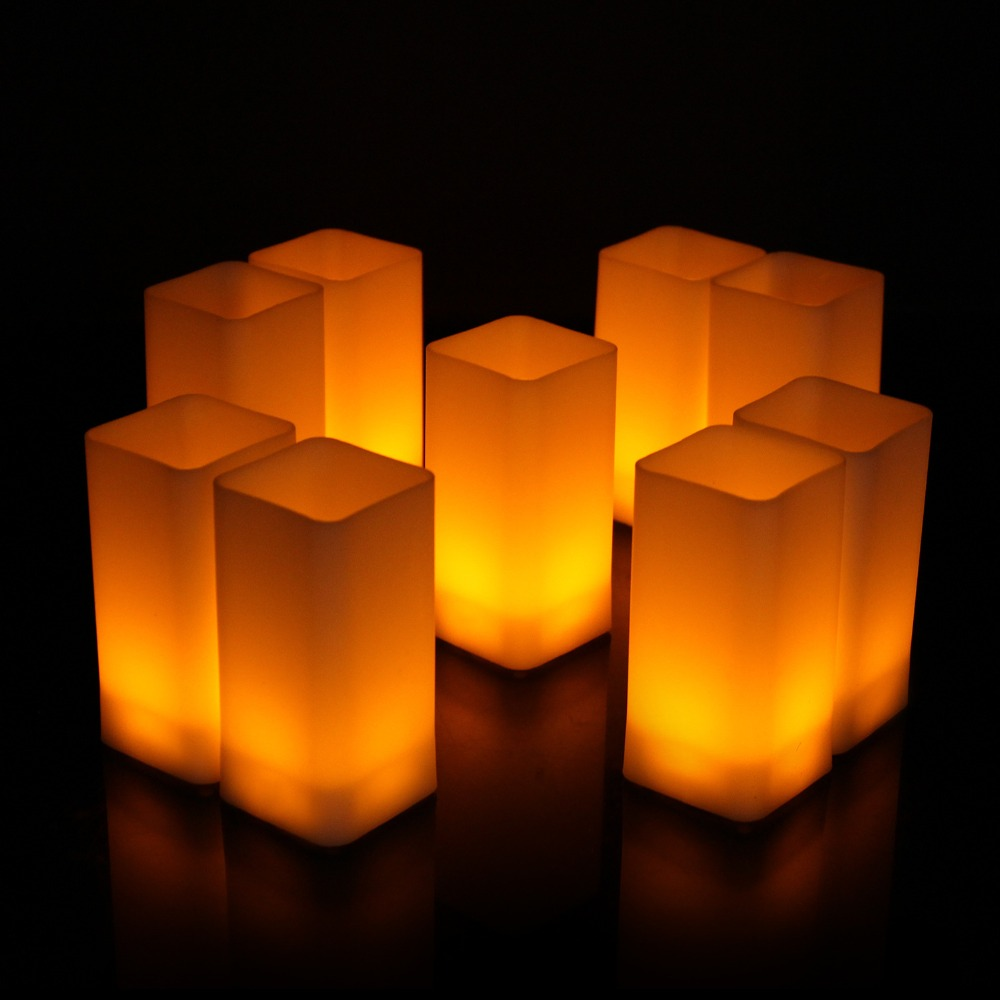 12pcs Flickering LED Candles Square Pillar Fake Candle Electric Tealight for Home Decor Wedding Parties