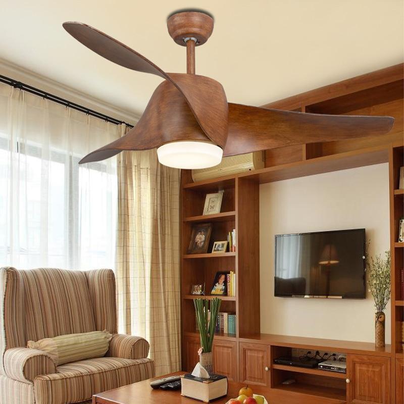 Ventilador de teto do vintage com luzes e controle remoto Ventilador de teto do quarto retro moderno ventilador de teto preto 52 polegadas