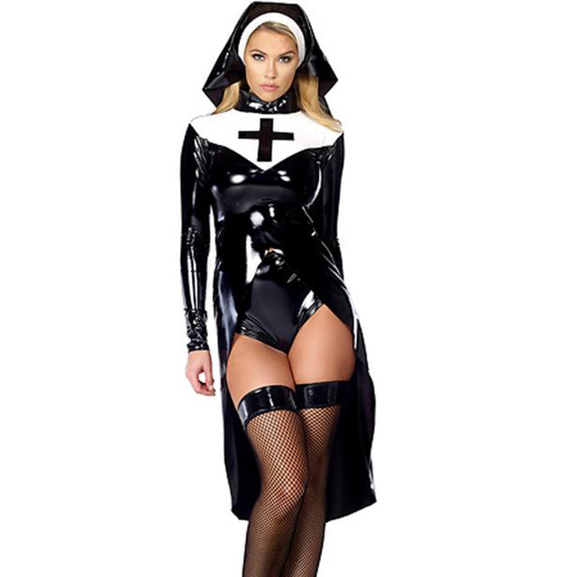 Sexy Wetlook Nun Costume Halloween Cosplay Plus Size M, L, XL, XXL Fashion Black Vinyl Leather Uniforms Carnival Erotic Costumes 1