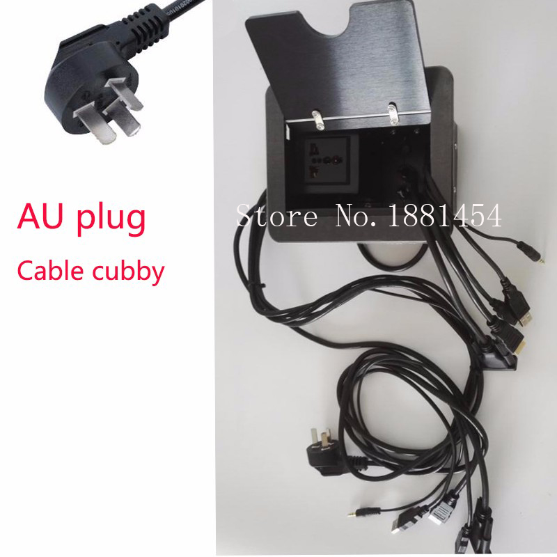 HOT! EU/USA/UK/AU plug cable cubby HDMI /USB/RJ45/3.5mm audio Cables for conference table Cable Cubby 2pcs/set