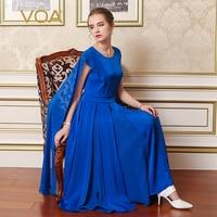VOA Королевский синий тяжелый шелк вечерние платье взлетно посадочной полосы плиссированные платья плащ Элегантный Для женщин Ретро Туника