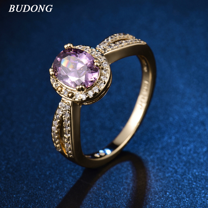 BUDONG 2017 Romantic Halo Ladies Finger Band Gold Color Ring for Women Oval Purple Crystal Zircon Engagement Jewelry XUR345
