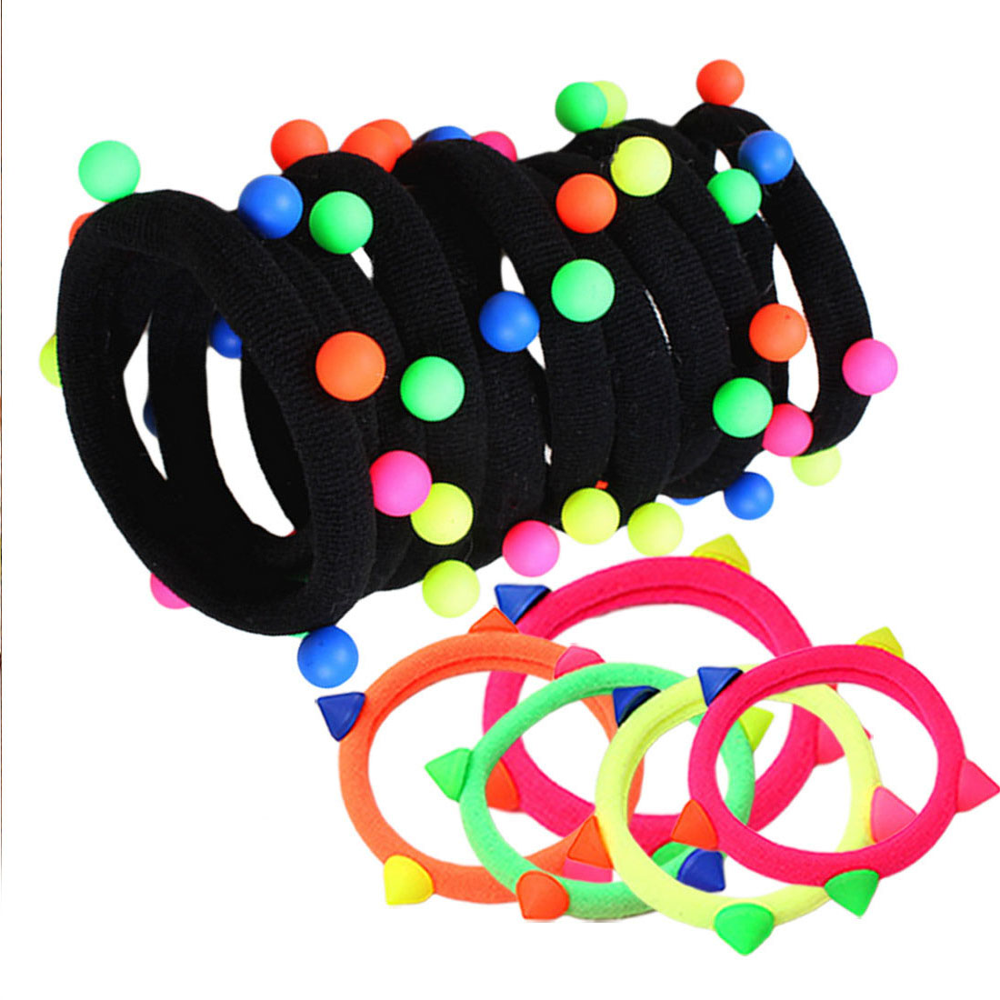 10/20pcs Colorful Pearl Ponytail Holder Elastic Hair Bands Seamless Scrunchie Gum Headwear Ropes Hair Accessories For Girls
