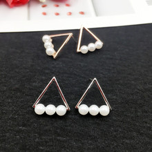 Купить с кэшбэком New 925 Sterling Silver Vintage Imitation Pearl Triangle Drop Earrings for Women Lady Korean Jewellery Wholesale Bijour